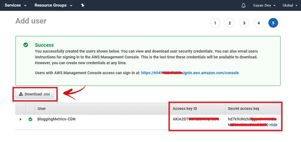 add iam user access key