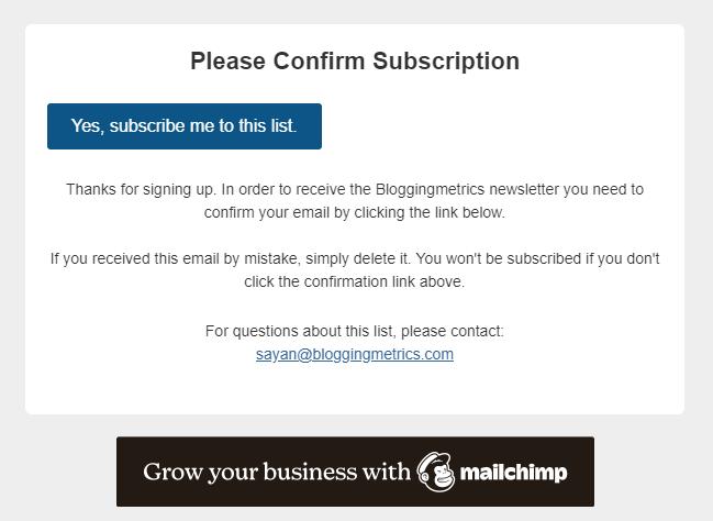 email confirm mailchimp