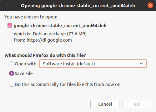 save chrome .deb file