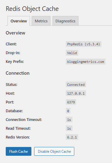 redis object cache status
